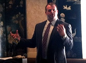 Jon Runyan speaks during Ocean County Mayors' Association breakfast.