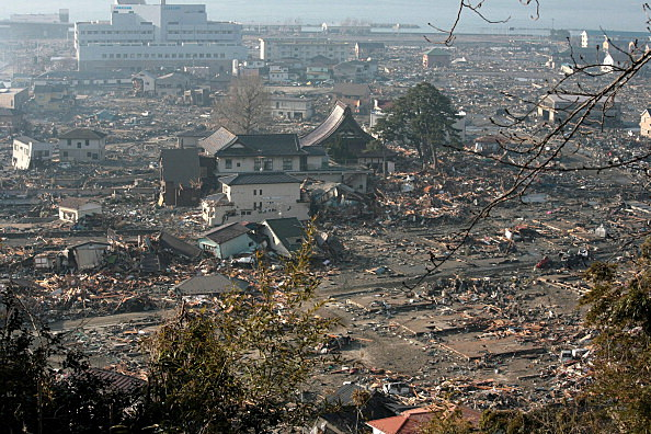 A general view is seen of what is left of the city after a tsunami wiped away the gas station which caused a fire and burnt down the whole town, after an 9.0 magnitude strong earthquake struck on March 11, 2011