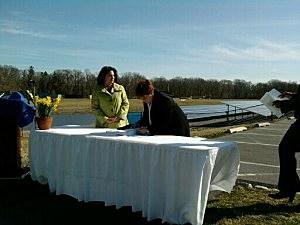 EPA's Lisa Plevin and Georgian Court University Presdient Rosemary Jeffries sign the Memorandum of Understanding