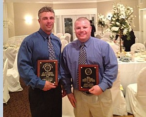 Award recipients Jason Groschel of Brick (left)  and Keith Smicklo of Jackson Liberty at the Shore Baseball Coaches Association Banquet
