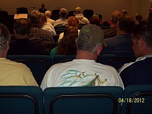 A fisherman at the DEP public hearing of Beach Access changes in Long Branch