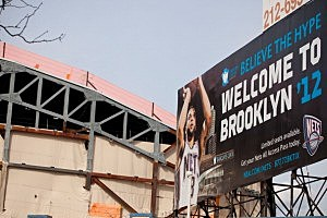 A billboard welcomes the Nets to their new home in Brooklyn