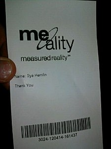 Receipt from Me-Ality Scan