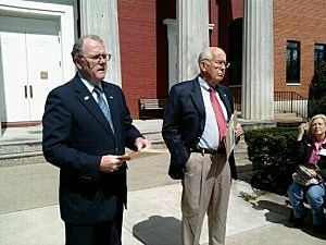 Campaign Manager Paul Brush (L) and Bob Armstrong Announce Armstrong's Candidacy Outside Ocean County Courthouse