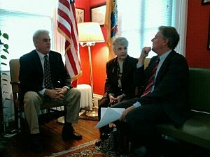 Son Russell M. Olivadotti (l) Sister Sandra Rubino (c) accept the Bronze Star from Congressman Frank Pallone (r)