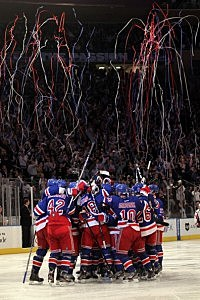 New York Rangers celebrate Game 5 win