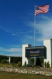 American flag flies at Ocean County College