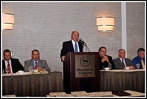 Monmouth University football coach Kevin Callahan addresses the Shore Football Coaches Foundation brunch