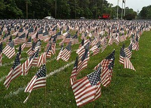 Flags on the lawn of Southern Regional High School