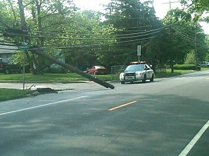 Utility pole knocked over on Route 166 at Suburban Drive (Toms River Police)