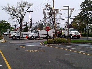Utility crews working on Route 166 in Toms River