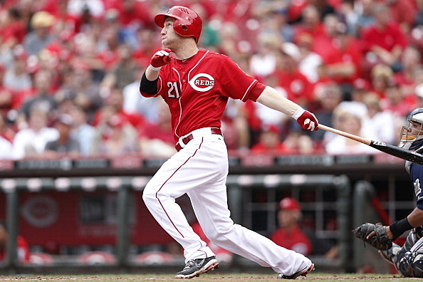 Todd Frazier #21 of the Cincinnati Reds hits a solo home run
