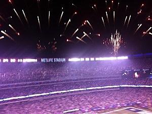 Pre game fireworks at Metlife Stadium