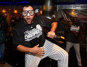 Joba Chamberlain celebrates the Yankees winning the American League East Division Championship