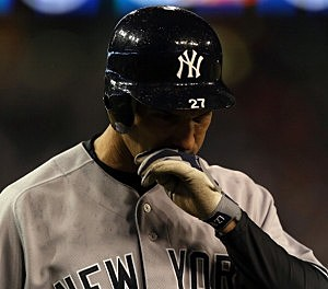Raul Ibanez of the New York Yankees reacts after he struck out for the final out of  game 3 of the American League Championship Series against the Detroit Tigers