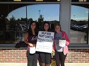 Kevin's daughter Alex (L) with her sorority sisters collecting for THON at Shop Rite in Toms River.
