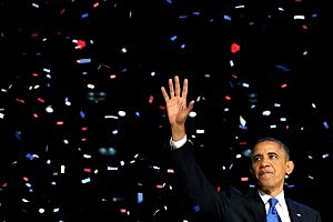 President Barack Obama waves to supporters after his victory speech at McCormick Place in Chicago