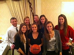 Top seeded Point Pleasant Boro girls team and coach Dave Drew at at WOBM Christmas Classic breakfast