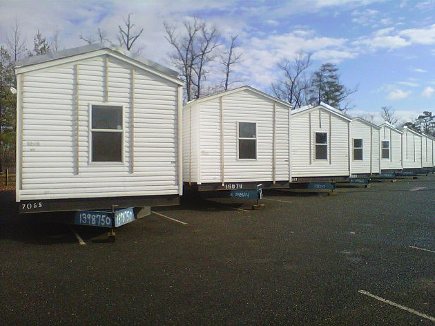 FEMA trailers lined up at Six Flags Great Adventure in Jackson