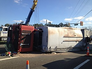 Flipped over truck on Route 70 at Whitesville Road in Toms River