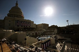People set up the stage at the U.S. Capitol building as Washington prepares for President Barack Obama's second inauguration