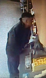 Surveillance video of suspect in robberies of two Brick convenience stores.