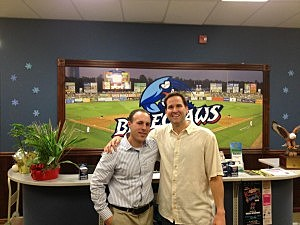 (L-R) Incoming BlueClaws General Manager Brandon Morano and Geoff Brown, the outgoing GM who is taking a position with the Rutgers athletic department.
