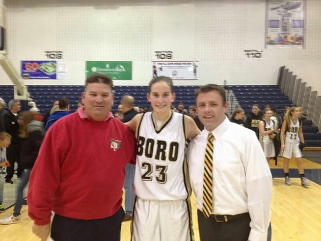 (L-R) Kevin Williams, Point Pleasant Boro's Kelly Hughes & Panther coach David Drew