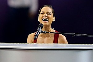 Alicia Keys performs the National Anthem prior to the start of Super Bowl XLVII