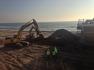 Construction equipment begins work on the new Seaside Heights boardwalk