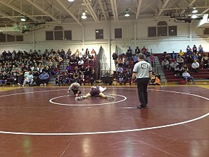 Toms River South  wrestler BJ Clagon about to record another pin