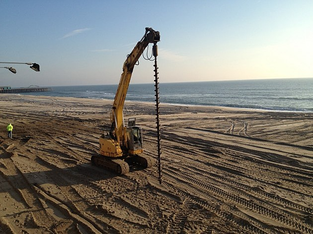 Machine that will drive piles into sand as part of Seaside Heights boardwalk rebuilf