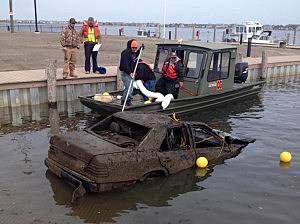 Car pulled out of Barnegat Bay in Brick