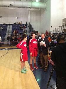 (L-R) Katellynn Flaherty & Marina Mabry of the Point Pleasant Beach High School girls basketball team