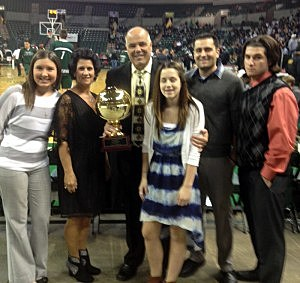 (L-R) Joe Arminio and his family with the NJSIAA Robert Kanaby Service Award he received for contributions to high school basketball in New Jersey. Pictured left to right are his daughter-in-law Megan, wife Gina, Joe, Daughter Skyler and sons Joe Jr. and Vinny.