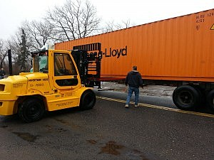 Shipping container brought to Union Beach to help with cleanup