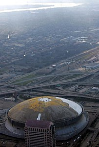 Louisiana Superdome after Hurricane Katrina in 2005.