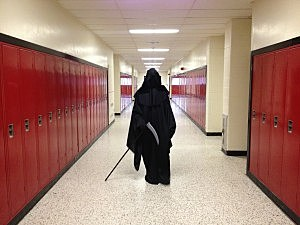 Grim Reaper at Jackson Memorial Hgh School as part of intense anti-teen drinking program