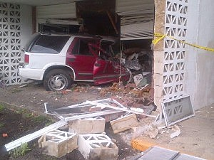 Chevy Blazer that drove nto building D of The Terrace View Apartments in Toms River