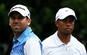 Tiger Woods of the USA and Sergio Garcia of Spain stand on the 11th tee
