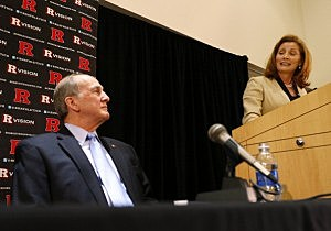 Julie Hermann talks to the media after being introduced as Rutgers University athletic director as Rutgers University President Robert L. Barchi listens