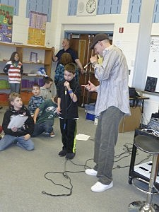 West Belmar School student learning the song Cross Town Roar from Patrick Shoreshot Whealan (West Belmar School)