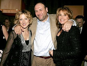 Edie Falco, James Gandolfini and Lorraine Bracco