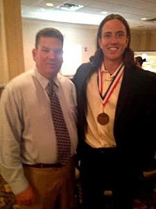 Kevin Williams with Toms River North Sportsmanship Award recipient Chris Gulla who will be playing football at Penn State.