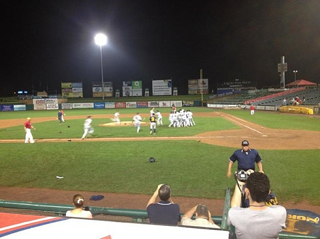 Jubiliant Toms River North players celebrate after recording final out