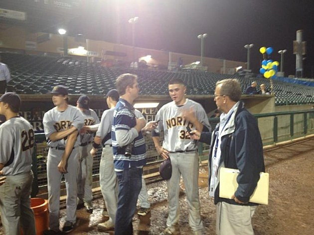 Winning pitcher Karl Blum interviewed after pitching Mariners to SCT title