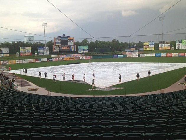 Tarp removal begins at FirstEnergy Park after plenty of rain Monday
