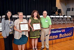 (L to R): Arleen Ramos-Szatmary, NJDA; Jacobsen School Principal Fran Meyer; LBI Schools Superintendent/LBI Grade School Principal Karen McKeon; Steve Bergonzoni, USDA (NJ Dept. of Agriculture)