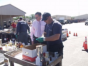 Ocean County Freeholder James Lacey (c) during last October's Household Hazardous Waste Collection (Ocean County Public Information)
