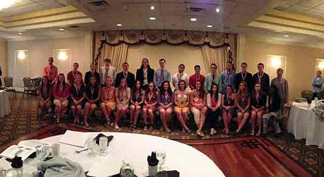 Sportsmanship Award honorees pose for a group picture at the Clarion Hotel in Toms River.